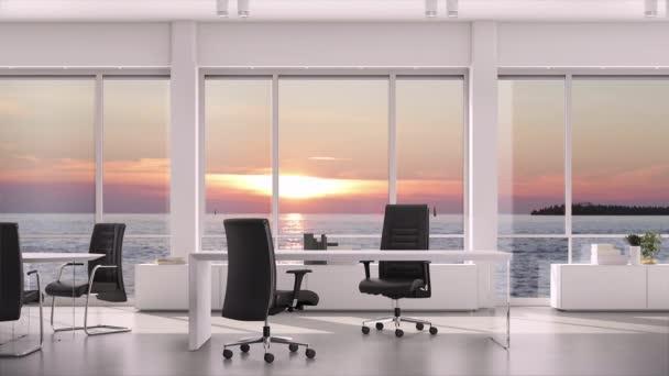Pohled z okna v obchodní kanceláři na večerní západ slunce na mořské vodě. Základní deska, pozadí grafického klíče