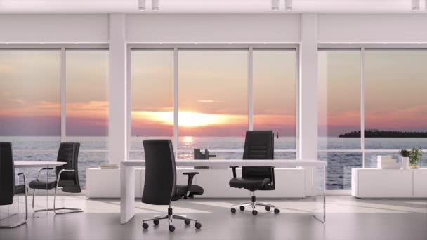 Podnikatel, zobrazeno ok znamení v moderní kanceláři se Západ slunce nad mořem za oknem. Oříznutý pohled na mužské ruky s fajn symbolem