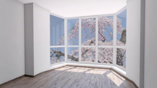 Prázdný dům k pronajmutí s bloom růžový sakura za oknem. Deska, Chroma Key Video pozadí na pozadí