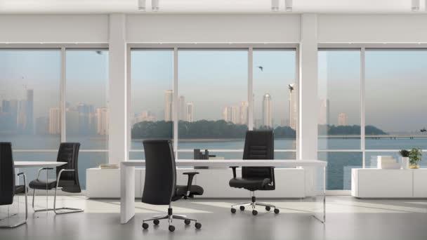 Prázdná moderní kancelář, ostrov a metropole s mrakodrapy vně velkého okna.