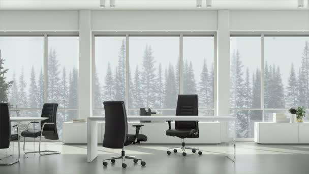 Pohled z okna v obchodní kanceláři na zimní sníh na pozadí jehličnatých stromů a zamračený nebe. Základní deska, pozadí grafického klíče