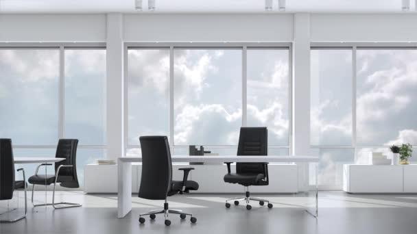 Kilátás-ból ablak-ban teendő Hivatal-ban skyskraper-ra felhős ég. Háttérlemez, Chroma-kulcs videó háttér