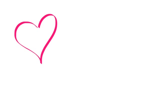 Miluji tě znaménko napsal rukou červené barvy na bílém pozadí. Tvar srdce plné červené. Pojetí lásky. CG