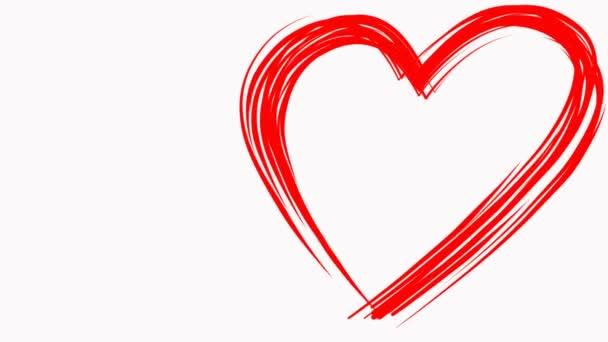 Herzform wie von Pinsel roter Farbe auf weißem Hintergrund gezeichnet. Symbol der Liebe-Zeichen. Valentinstag Cg