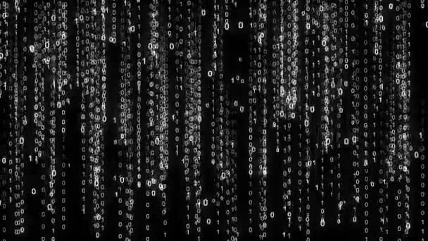 Binary rain. Abstract backdrop background. Digital Data Stream Matrix Effect. White numbers digits zero ones streams with rotation.