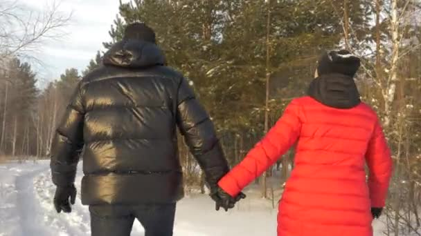 Happy couple man and woman holding hands and walking in snowy winter forest