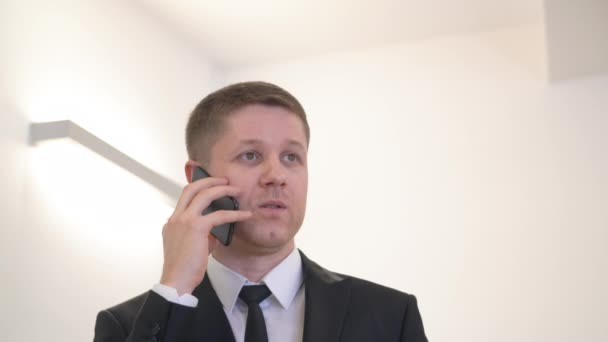 Handsome businessman using mobile for conversation with partner in office