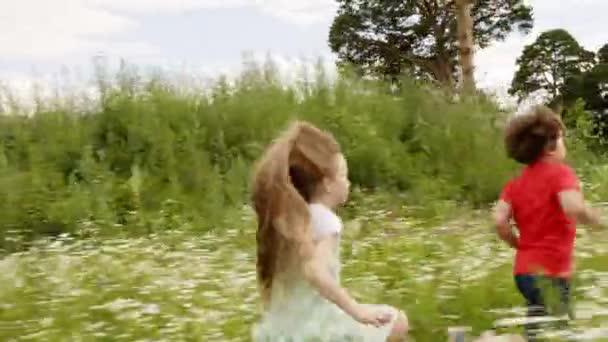 Šťastné děti na kvetoucích polích v letní vesnici. Veselá holka a kluk běží v létě na louku. Škola se baví v letních prázdninách na venkově.