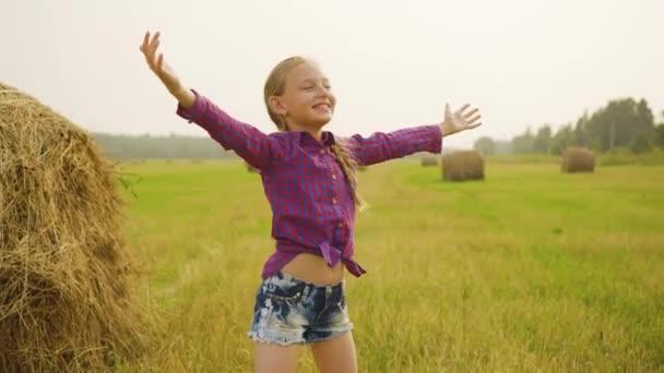 Happy child on field