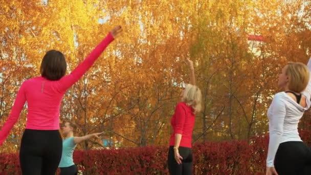 Női csoport edzés port de melltartó gyakorlat őszi parkban. Női jóga gyakorlás a szabadban. Nő gyakorló jóga fitness narancs fák a városi parkban.