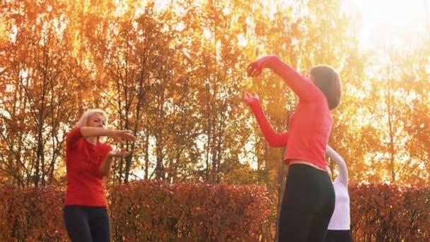 Fókuszált nők csoportja az őszi parkban