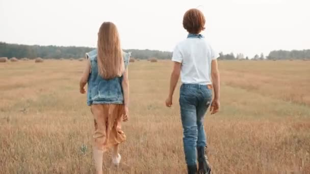 Back view of two stylish teens walking together in rural field