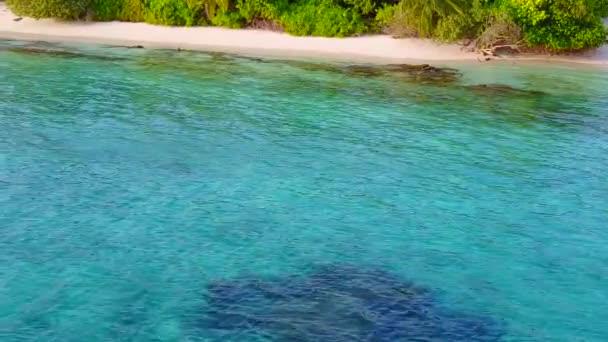 Romantic sky of marine seashore beach voyage by shallow lagoon and white sand background near palms