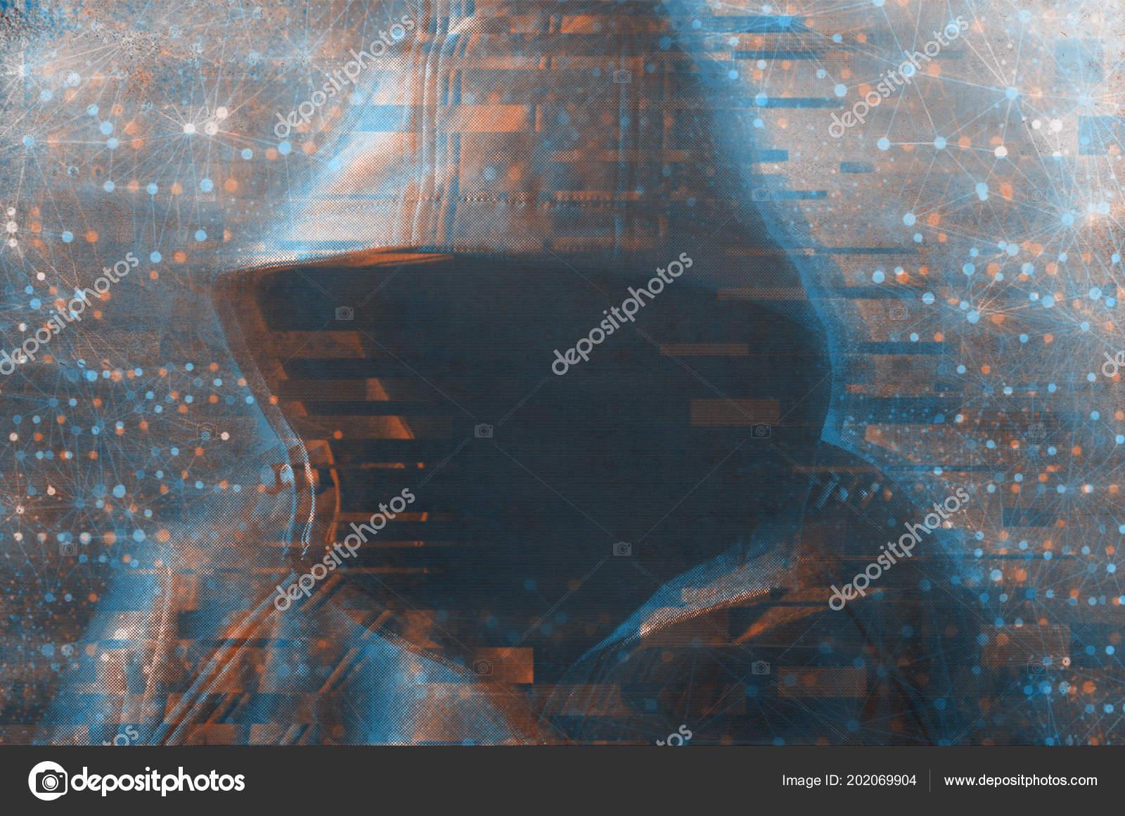 Unrecognizable Hooded Hacker Hacking Cyber Network Cybersecurity ...