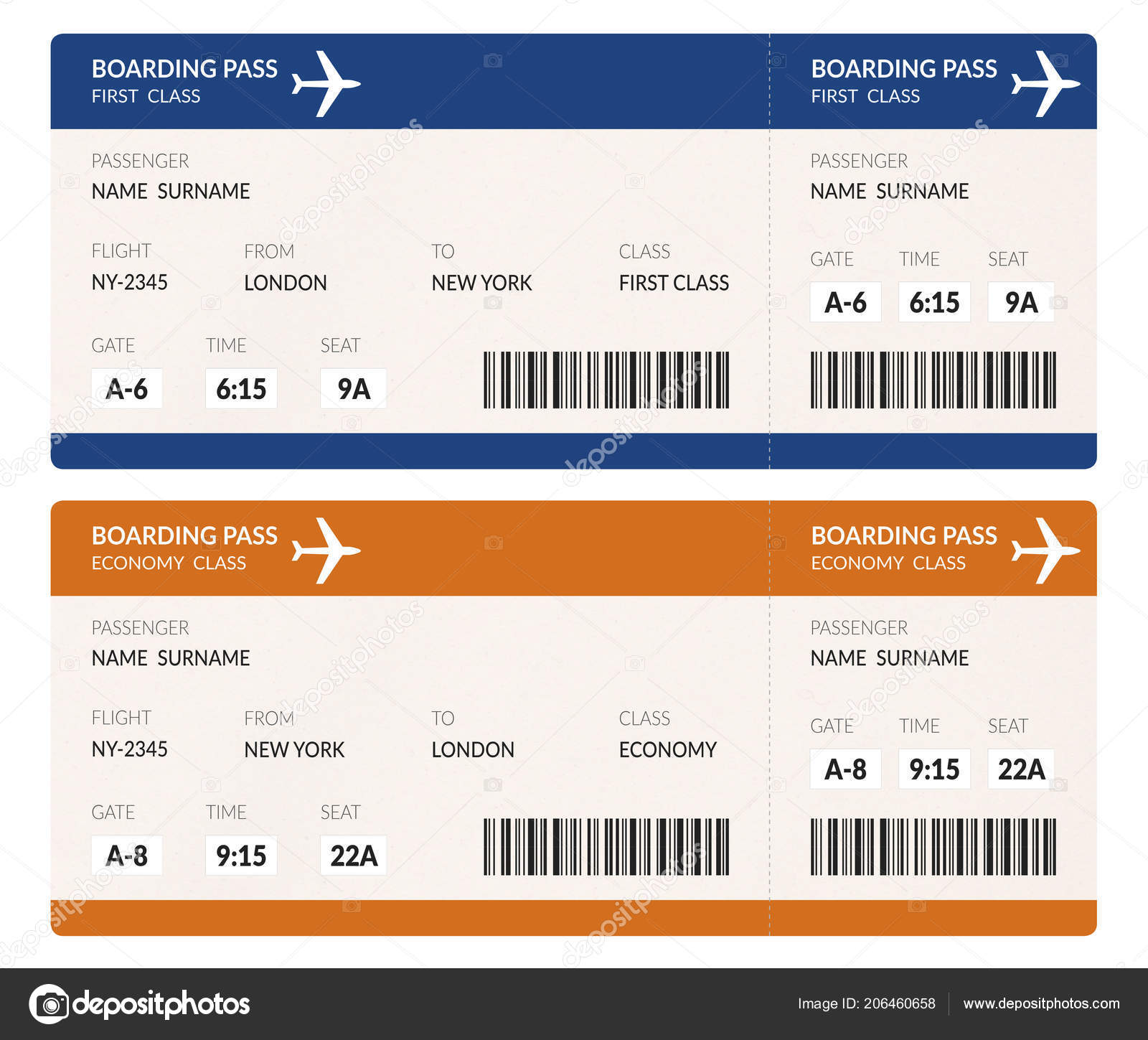 Airline Boarding Pass Ticket Illustration Barcode Isolated White