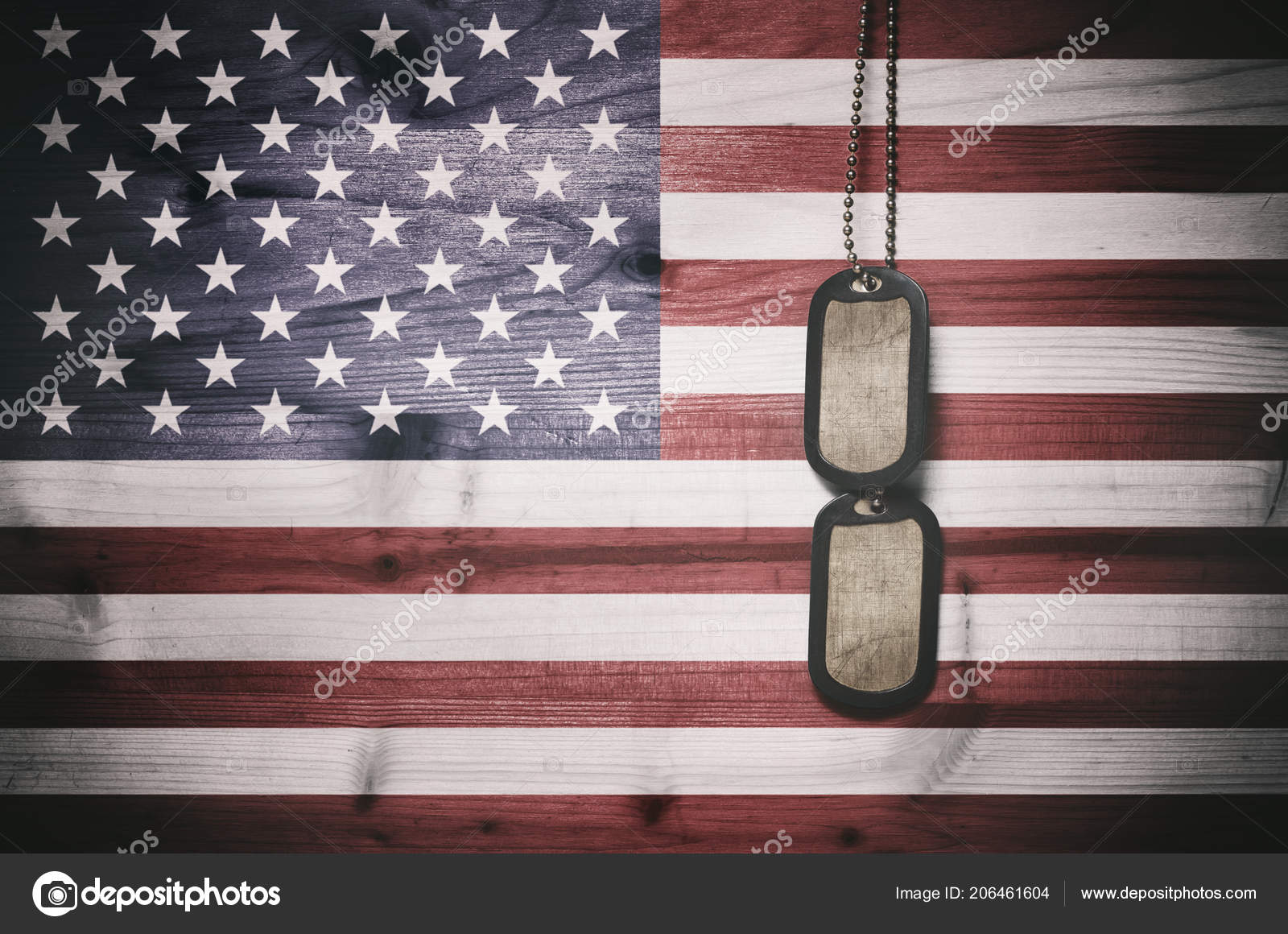 Military Dog Tags American Flag Background — Stock Photo