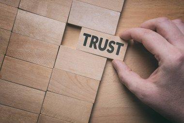 Trust word written on wooden block. Building trust business conc