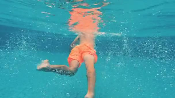 A young guy swims underwater in a swimming pool on a blue background. Underwater video.