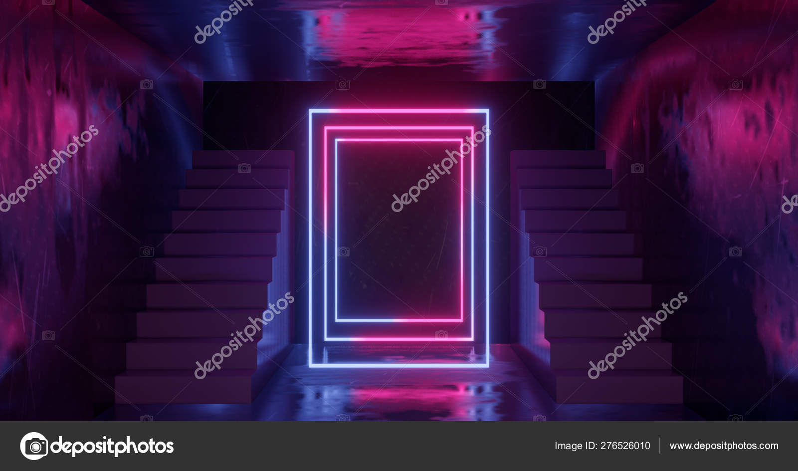 3d Rendering Abstract Neon Background Pink Blue Glowing