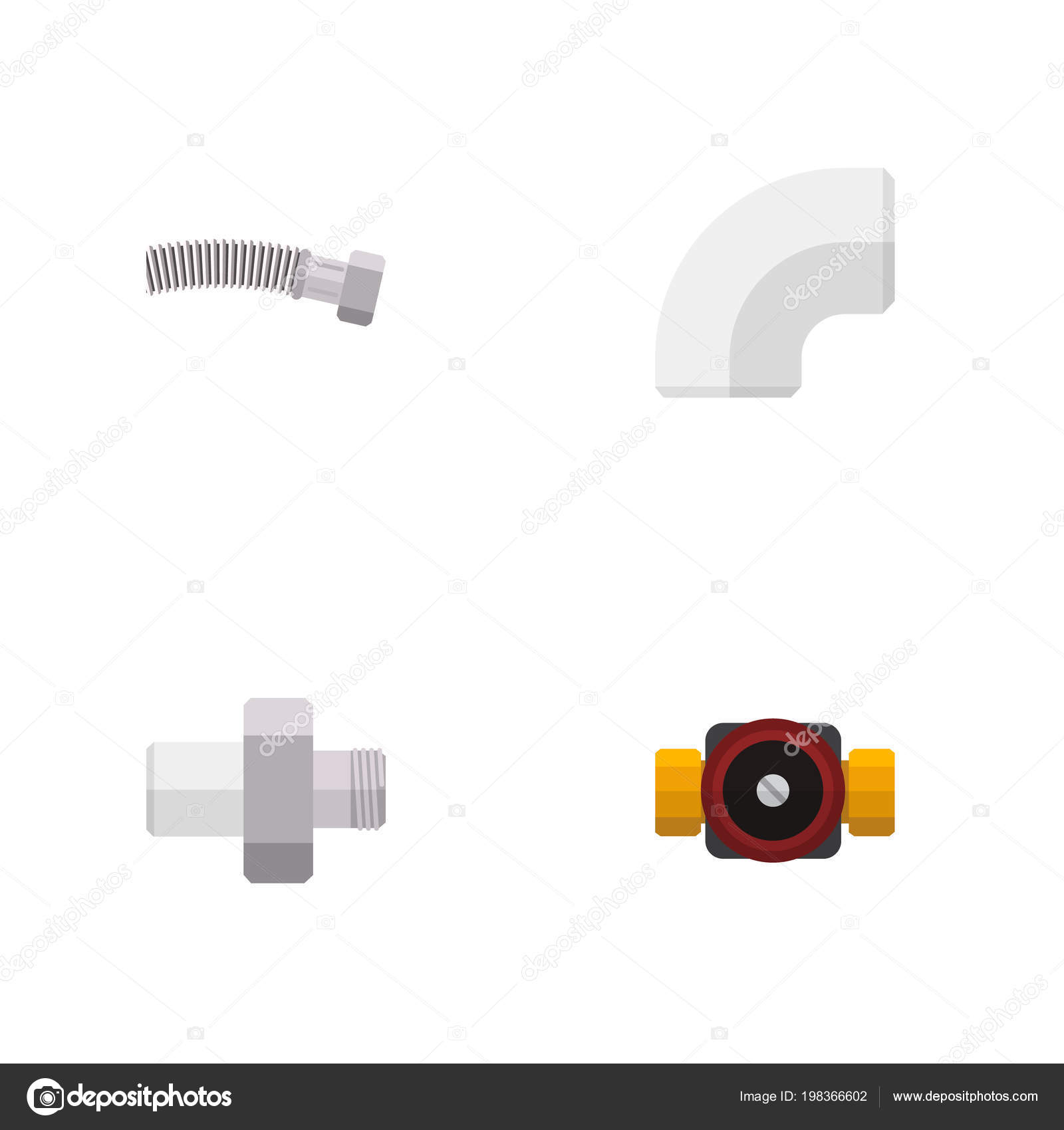 Flache Industrie Symbolsatz gewickelten Draht, Wasserhahn, Abfluss ...