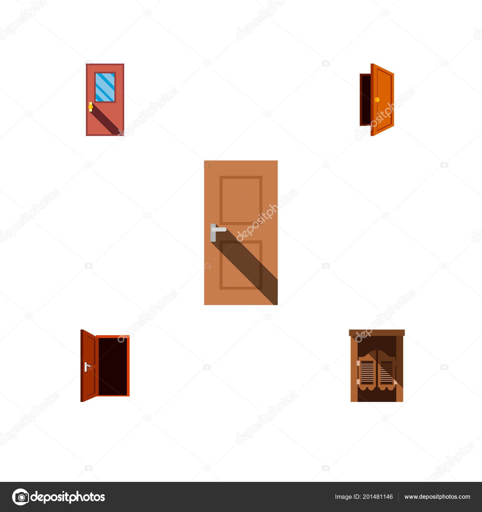 Flache Ansatz Symbolsatz aus Rahmen, Tür, Ausfahrt und andere Vektor ...