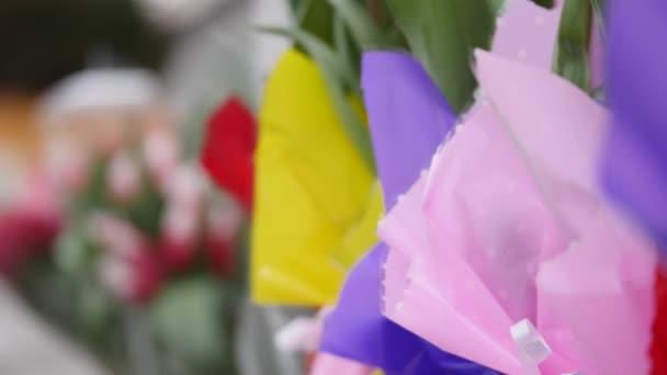 Tulipány z různých barev na květinářství čítače. Closeup