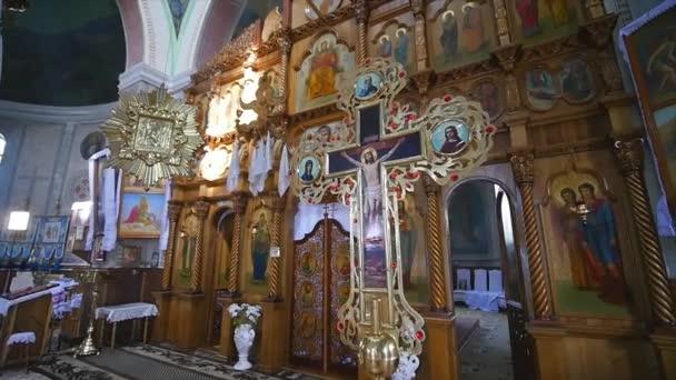 Amazing golden iconostasis in church