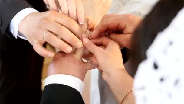 Sposa indossare anello sul dito degli sposi. mani di matrimonio con gli anelli. Birde indossa lanello al dito dello sposo