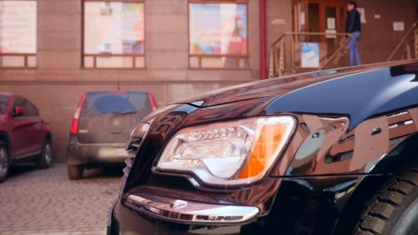 Headlights of luxury car.