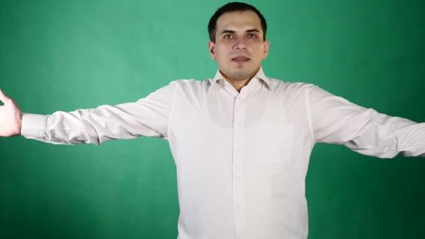 Mann klatschte, grünen applaudieren, Hintergrund
