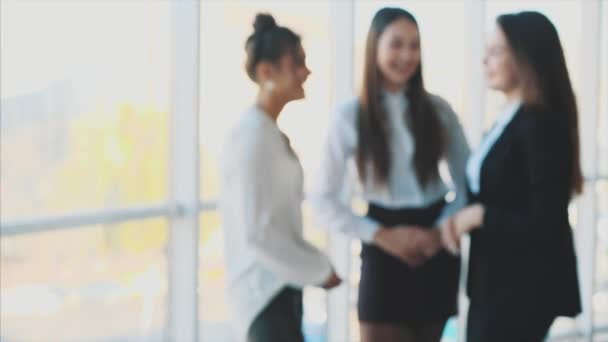 Three business girls chatting smiling when they succeed in business. Teamwork Ideas to organize and succeed, the Coordination force will achieve the goal with copi space