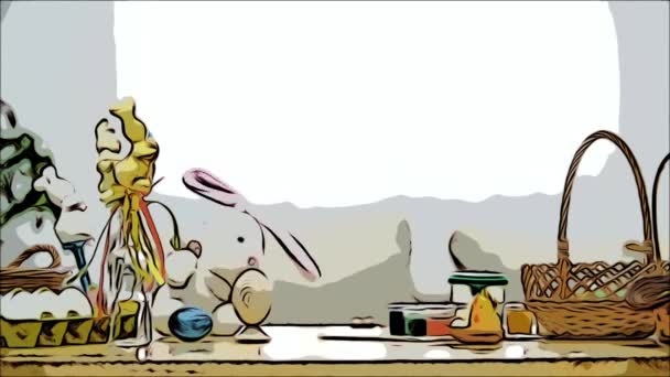 Little boy is hiding under the wooden table, full of Easter decorations: basket, yellow chicken, colorful eggs pains and paint-brush. Boy is playing with a cute, soft white bunny with pink ears, on