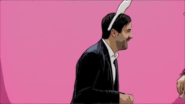 Junges sexy Paar auf rosa Hintergrund. Mit abgedroschenen Ohren auf dem Kopf. Während dieser Reproduktion sexuelle Kaninchen Bewegungen und Blicke gehen Sie nach einer Weile aus dem Rahmen. Das Konzept von einem schrillen. Animation