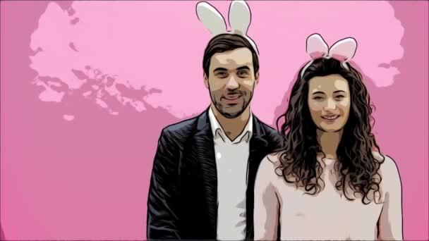 Familie feiern Ostersonntag. Brautpaar mit Hasenohren. Frohe Feiertage. Paar Ostereier zu Ostern. Deko-Eier-Ideen. Urlaub. Frühling Urlaub. Saison. Hasenohren. Animation.