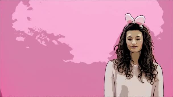 Junges Paar stehend stehend auf rosa Hintergrund. Mit Hasenohren auf den Kopf. Während dieser Mann gibt seine Frau einen Korb mit bunten Eiern. Ostern-Konzept. Ostern. Animation.