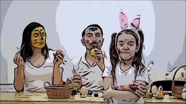 Cute couple is colorizing each other with a help of Easter paint-brush. Their daughter says: