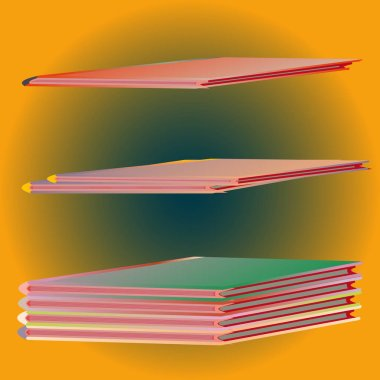 Stacks of colorful notebooks. Vector illustration