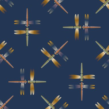 Seamless abstract pattern with dragonfly, vector illustration. Pattern for card, invitation, wrapping paper, textile fabric