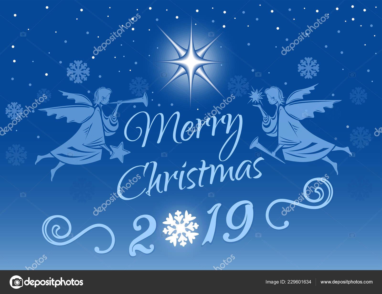 Immagini Auguri Natale 2019.Illustrazione Buon Natale Con Angeli Buon Natale 2019