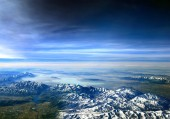 Photo     Flying over Utah, USA - looking towards Utah lake over the Wasatch Mountains