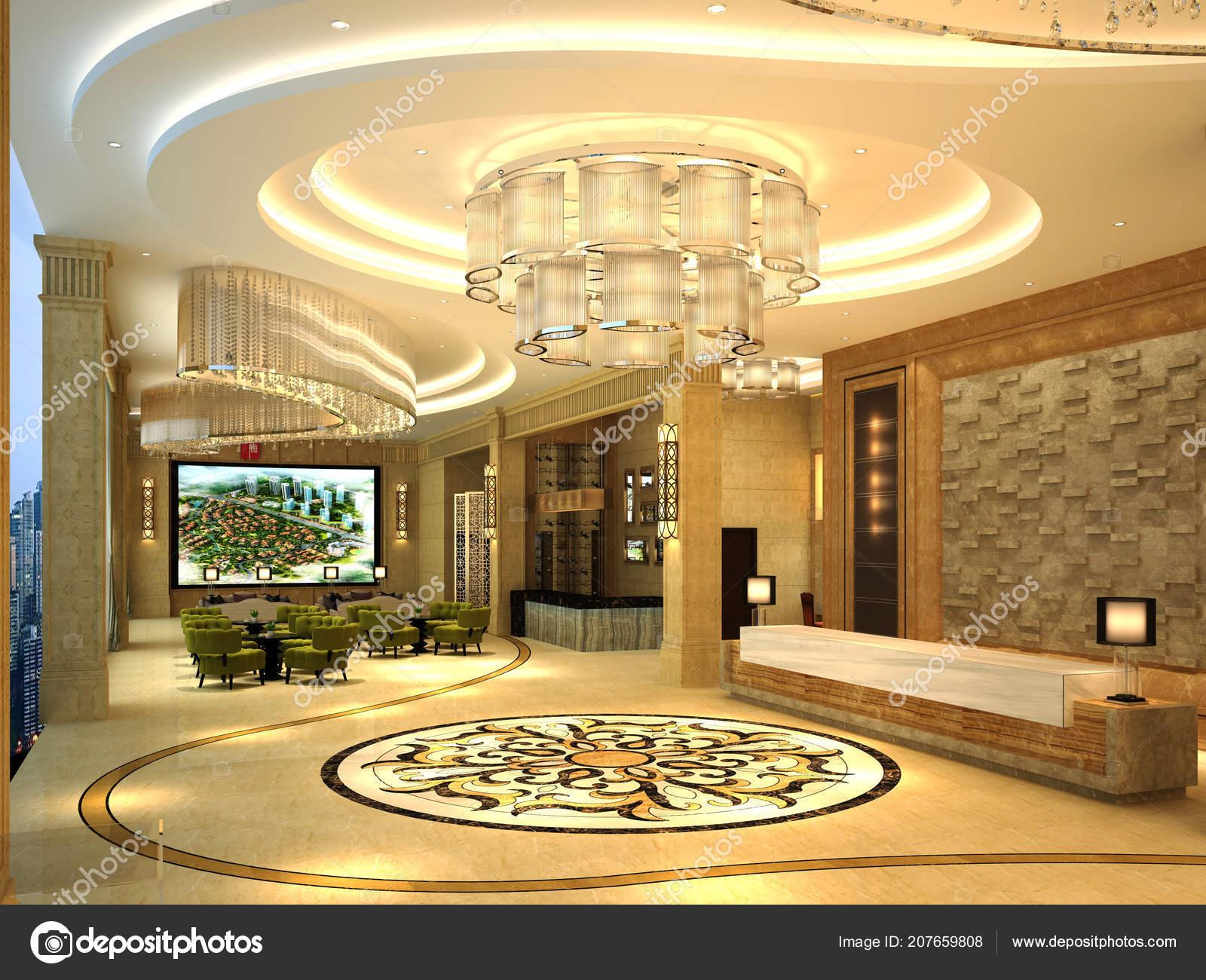 Render Luxury Modern Hotel Lobby Entrance — Stock Photo