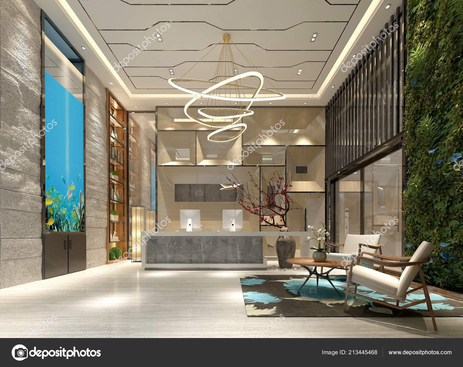 Render luxury modern hotel entrance lobby stock photo for Hotel entrance decor