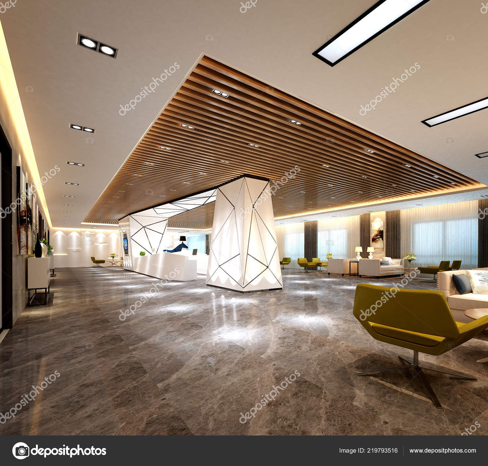 Render Modern Luxury Hotel Lobby Reception — Stock Photo