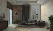 3d render home living room