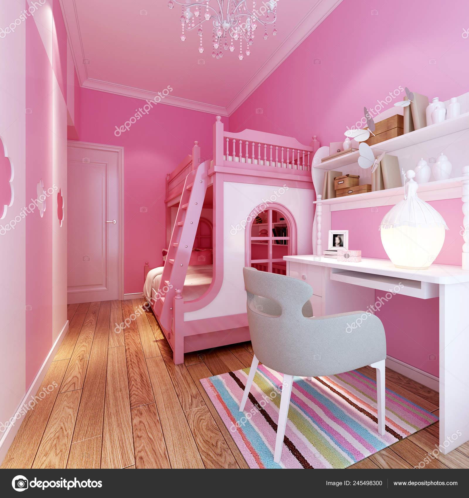 Render Pink Color Child Bedroom — Stock Photo © mtellioglu ...