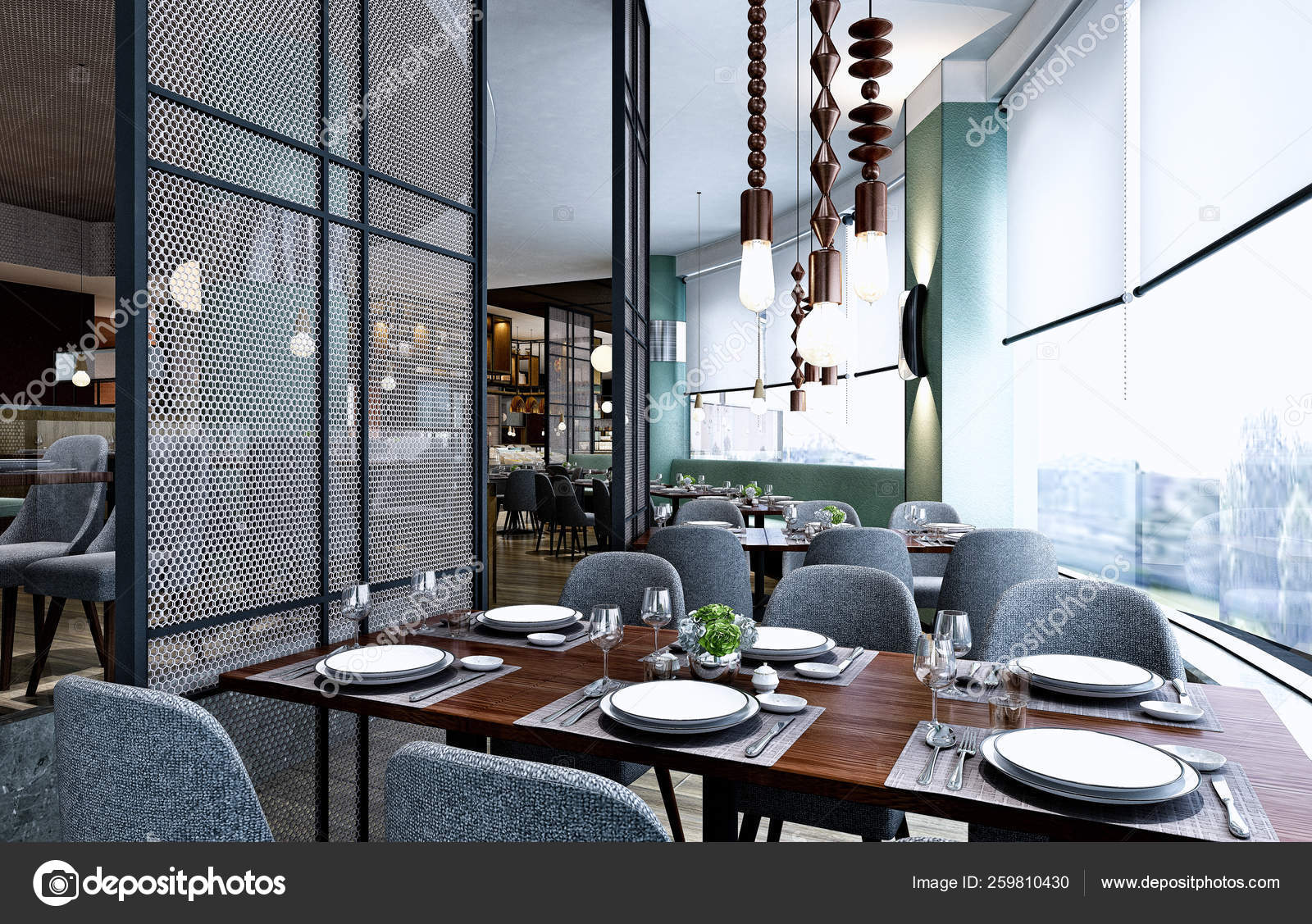 Render Modern Cafe Restaurant Stock Photo C Mtellioglu 259810430