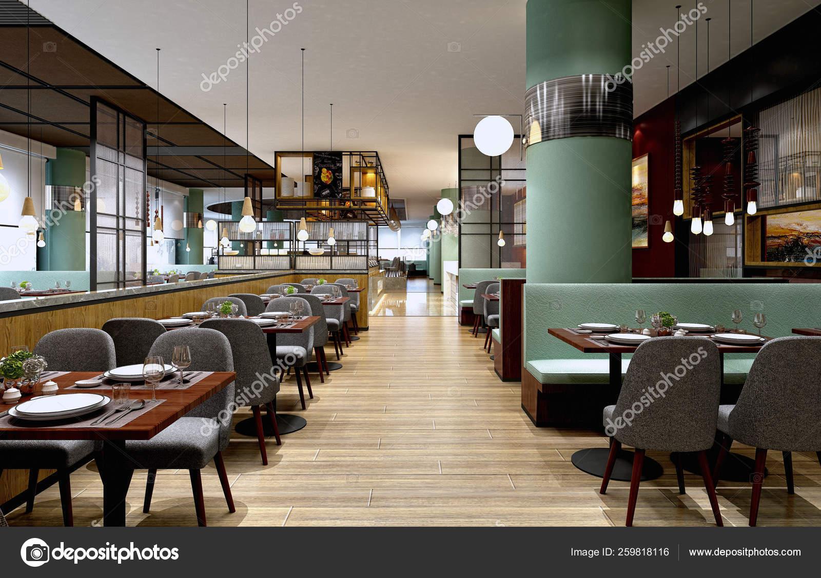 Render Modern Cafe Restaurant Stock Photo C Mtellioglu 259818116