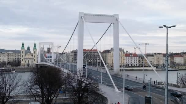 Budapest, Magyarország - január, 2019: a Duna és az Erzsébet híd, szép híd megtekintése