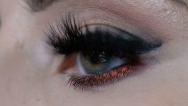 Beautiful macro shot of female eye with extreme long eyelashes. Perfect visage, make-up and long lashes.