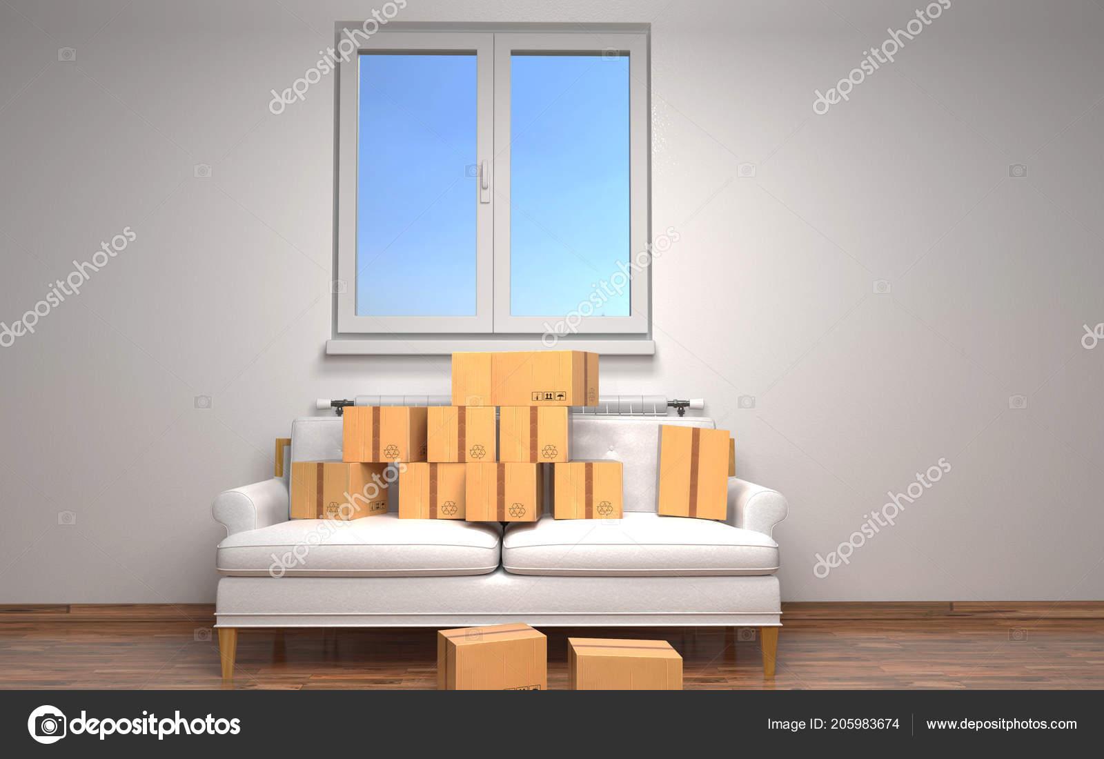 Boxes in room.3D rendering.